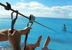 Zipline over the ocean at Parque Garrafon, Isla Mujeres.
