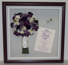 Jennifer included her invtation and boutonniere in her shadow box with her stunning bouquet. Perfect keepsake!