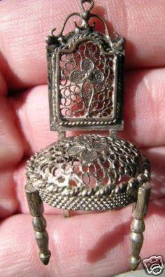 Antique Silver Filigree Miniature Furniture Chair