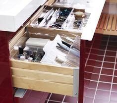 GODMORGON wastafelkast | #IKEA #badkamer #wastafel #kast #rood #DagRommel
