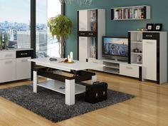 Obývací stěna HUGO 1 lesk, barva: Obývací stěna HUGO 1 lesk Barva: vyberte si níže Materiál: korpus LTD 16 mm, ABS hrana 0,6 mm, úchytky stříbrné – tvrzený plast V ceně obývací stěny jsou tyto … Corner Desk, Furniture, Home Decor, Corner Table, Decoration Home, Room Decor, Home Furnishings, Home Interior Design, Home Decoration