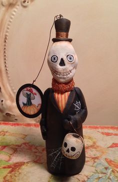 Folk Art Halloween One of a Kind Skeleton Day of by FolkArtByPenny