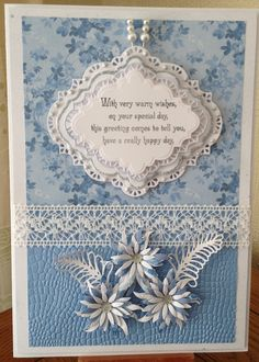 card The products used for this are from the new Chic Collection, I chose the Grey/Blue. Dies used are by Sue Wilson Scrapbook Cards, Scrapbooking, Create And Craft Tv, Sue Wilson Dies, New Chic, Handmade Cards, Cardmaking, A4, Card Ideas