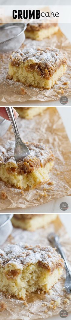 There's not enough crumb cake in this world. This Crumb Cake Recipe has a moist cake that is topped with a thick layer of crumb topping. This is the BEST crumb cake recipe! Baking Recipes, Cake Recipes, Dessert Recipes, Best Crumb Cake Recipe, Brunch Recipes, Sweet Recipes, Cupcake Cakes, Cupcakes, Sweets Cake