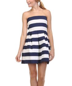 Loving this Black & White Stripe Sleeveless Fit and Flare Dress on #zulily! #zulilyfinds
