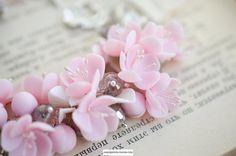 Pink sakura blossom bracelet Pink and gray jewelry Sterling