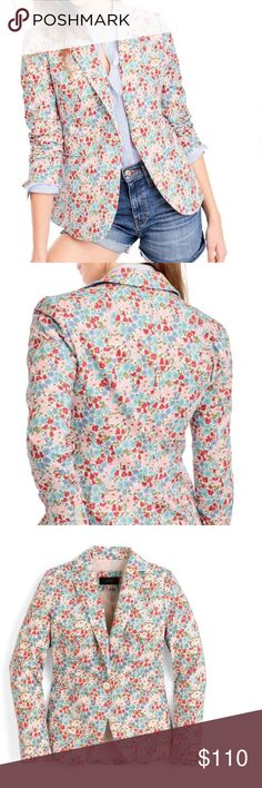 J.Crew Campbell liberty floral blazer! Size 6 This blazer features a slim, feminine fit and a pretty floral print that's perfect for warm weather. The pattern is from Liberty Art Fabrics (the British print house that's been known for its mood-lifting florals since the 1875). If you look closely, you'll see that it's a colorful mix of poppies and daisies.  One-button closure Notch collar Long sleeves with four-button cuffs Front welt pockets Back vent Lined 100% cotton Dry clean J. Crew…