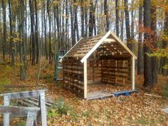 Pallet+shed For at the fire pit out back. Could throw a tarp over the top and use it as a cabin.