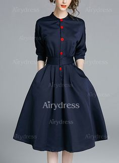 Dress - $32.34 - Cotton Solid Long Sleeve Knee-Length Casual Dresses (1955197214)