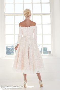 House of Mooshki 2020 Spring Bridal Collection – The FashionBrides Short Wedding Gowns, Wedding Dresses, Scalloped Lace, Bridal Collection, Ballerina, Off The Shoulder, Bodice, Dresses With Sleeves, Nude
