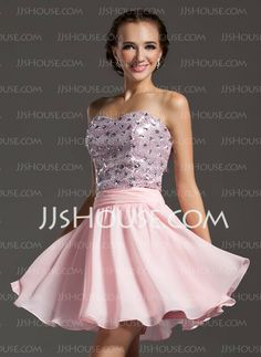 Homecoming Dresses - $128.99 - A-Line/Princess Sweetheart Short/Mini Chiffon Sequined Homecoming Dress With Beading (022013813) http://jjshouse.com/A-Line-Princess-Sweetheart-Short-Mini-Chiffon-Sequined-Homecoming-Dress-With-Beading-022013813-g13813