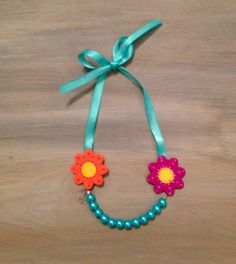 Little Girls Necklace Flowers and Turquoise Pearls by lucyjory