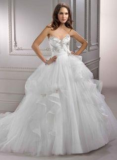 Vintage Ballgown Sweetheart Satin Bodice Tulle Skirt Wedding Dresses, Wedding Dress wedding dresses 2014