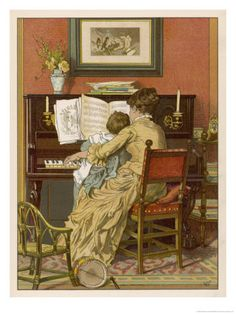 German Mother and Child at the Piano ~  by Woldemar Friedrich