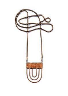 POLIS NECKLACE  Bronze pendant with woven Irish linen by Stone& Honey