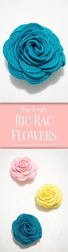 Learn how to make these super cute ric rac flowers in under five minutes with hot glue and one line of sewing! Perfect accessory for hair clips or pins! Ribbon Crafts, Flower Crafts, Fabric Crafts, Sewing Crafts, Cute Crafts, Crafts To Make, Diy Crafts, Crochet Flowers, Fabric Flowers