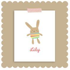 Stripe Bunny by Baby Bird & Bub Bub $15.00 #wallart #kidroomdecor