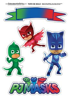 Pj Masks Cake Topper, Pj Masks Cupcake Toppers, Pj Mask Cupcakes, Sofia The First Birthday Party, Boy Birthday Parties, 4th Birthday, Pj Masks Birthday Cake, Birthday Cake Toppers, Decoracion Pj Mask
