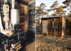 arvesund: a swedish company which manufactures and produces the hermit's cabin. the dwelling is just one room with one single bed and a kitchen. they also produce the special stove and water heating system in the house.