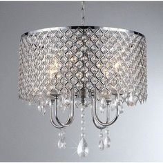Warehouse of Tiffany 4 Light Crystal Chandelier, Grey Round Crystal Chandelier, Chandelier Lighting, Chandeliers, Bedroom Lighting, Tiffany, Online Lighting Stores, Glass Domes, Drum Shade, Cool Lighting