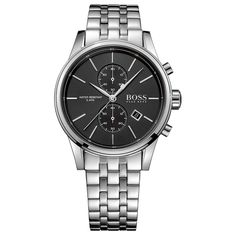 BOSS - Three-hand watch in polished stainless steel Hugo Boss Watches, Watches For Men, Herren Chronograph, Hand Watch, Unisex, Omega Watch, Rolex Watches, Stainless Steel, Accessories