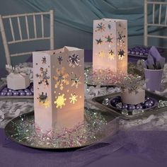 """12 / 1 dozen Paper luminary bags5 1/4"""" x 3"""" x 10"""" Not flame retardant...not recommended to use with candles Winter Wonderland Birthday, Winter Birthday, Frozen Birthday Party, Wonderland Party, Frozen Party, 2nd Birthday, Birthday Ideas, Birthday Parties, Snowflake Centerpieces"""