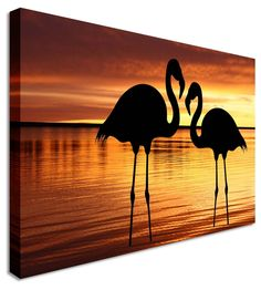 Flamingo Silhouette by Abstract Art Canvas Printers, Canvas Art Cheap Prints by www.canvastown.co.uk