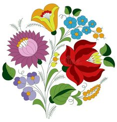 Illustration about Authentic Hungarian embroidery folk pattern with tulip, rose and peonie from the famous Kalocsa region. Illustration of green, fancy, flower - 163483856 Folk Art Flowers, Flower Art, African Crafts, Vintage Jewelry Crafts, Hungarian Embroidery, Flower Embroidery Designs, Barn Quilts, Free Vector Art, Quilting Designs