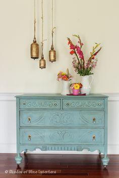 Vintage dresser updated with blue eclecticallyvintage.com