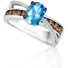 Le Vian  Ocean Blue Topaz, Vanilla Diamonds, And Chocolate Diamonds... ($1,625) ❤ liked on Polyvore featuring jewelry, rings, blue, gold diamond rings, diamond rings, blue diamond rings, blue topaz gold ring and 14k diamond ring