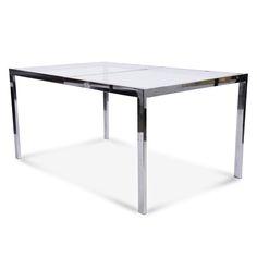 Rectangular Chrome Glass Top Table