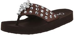 Grazie Womens Cabo Flip Flop Brown 65 B US -- This is an Amazon Affiliate link. To view further for this item, visit the image link.