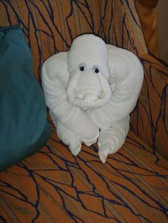Gorilla Towel Animal. Discover how to make towel origami at: http://FoldingMagic.com