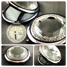 New compact mirrors available in 2 styles. Clear decorative top with crystals or a clear honeycomb top. Use these as bomboniere for your bridal shower and each guest will keep a nice memento of your day with them in their purse. We can also  custom engrave for your bridal party or special gift. Special Day, Special Gifts, Compact Mirror, Custom Engraving, Honeycomb, Mirrors, Bracelet Watch, Bridal Shower, Wedding Inspiration