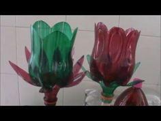 YouTube Reuse Plastic Bottles, Plastic Bottle Flowers, Plastic Bottle Crafts, Recycled Bottles, Recycled Crafts, Diy Crafts, Art Floral, Flower Crafts, Flower Art