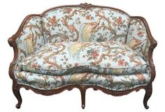 Antique Carved French Settee in Toile