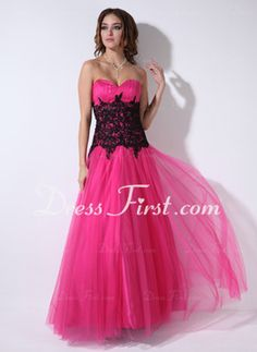 A-Line/Princess Sweetheart Floor-Length Tulle Prom Dress With Ruffle Lace (018004822) - DressFirst en £118.29