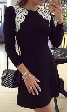 Looks I LOVE! Love all the Details! Stylish Black and White Lace Round Collar Long Sleeve Patch Lace Design BodyCon Dress  #Black #White #Lace #LBD #Fashion #Styling #Ideas