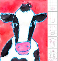 Art Projects for Kids: Watercolor Cow Face. Could have them add accessories and personality to their cow - perhaps a name and bio like a cow playing card Drawing For Kids, Art For Kids, Cow Drawing, Drawing Animals, Drawing Faces, First Grade Art, Creation Art, Farm Art, Cow Art