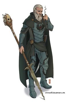 Male necromancer / wizard with a creepy wand. Adventurer inspiration for DnD / Pathfinder - maybe an antihero or antagonist