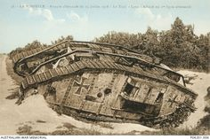 A French postcard depicting 'Lotte', a destroyed British Army Mk.IV 'Female' Tank captured by the German Army and used against French forces at La Pompelle on 15 July 1918. 80 British tanks were ...