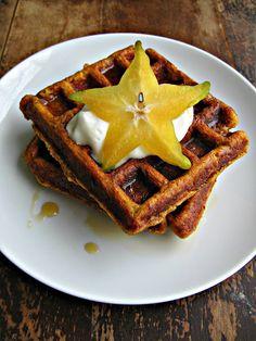 sweetsugarbean: Pumpkin Whole Grain Waffles with Maple Greek Yogurt. Uses ground flax and wheat germ or oat bran