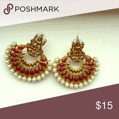 Ethnic earrings Pretty earrings with Lakshmi motif (goddess of wealth). Red stones and pearl in gold inlay. Jewelry Earrings