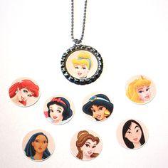 Interchangeable Disney bottlecap necklaces