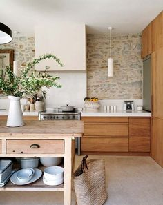 Modern Wooden Kitchen Interior Design Ideas -wood cabinets, white counter top, concrete floor