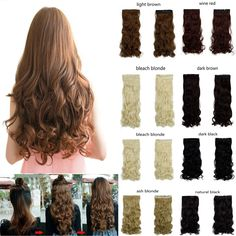 """New 27"""" long curly synthetic hair clip in half head hair extension 17 colors 150g black brown blonde auburn   free shipping http://jadeshair.com/new-27-long-curly-synthetic-hair-clip-in-half-head-hair-extension-17-colors-150g-black-brown-blonde-auburn-free-shipping/ #HairExtension"""
