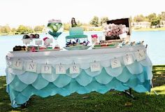 website for themed party ideas! (kids, adults, baby showers and many more!love the mermaid party idea :) Party Ideas For Teen Girls, Little Mermaid Parties, Party Decoration, Under The Sea Party, Party Banners, Party Entertainment, Mermaid Birthday, Baby Showers, Party Gifts