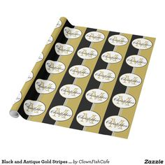 Black and Antique Gold Stripes Monogram Wrapping Paper - This wrapping paper features a repeating pattern of formal and classic black, white, and gold stripes topped by white ovals containing a customizable name and initial.  http://www.zazzle.com/black_and_antique_gold_stripes_monogram_wrapping_paper-256418888847389981?size=15ftroll&view=113017584351026004&rf=238083504576446517&tc=pint
