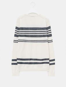 Stripe Round Neck Knit Pullover - White,BEANPOLE MEN