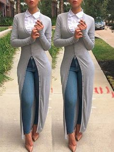 Autumn women long sleeve buttoned closure cardigan chicme com online discover hottest trend fashion at chicme com Look Fashion, Autumn Fashion, Womens Fashion, Fashion Beauty, Classy Outfits, Stylish Outfits, Mode Outfits, Fall Outfits, Vetement Fashion